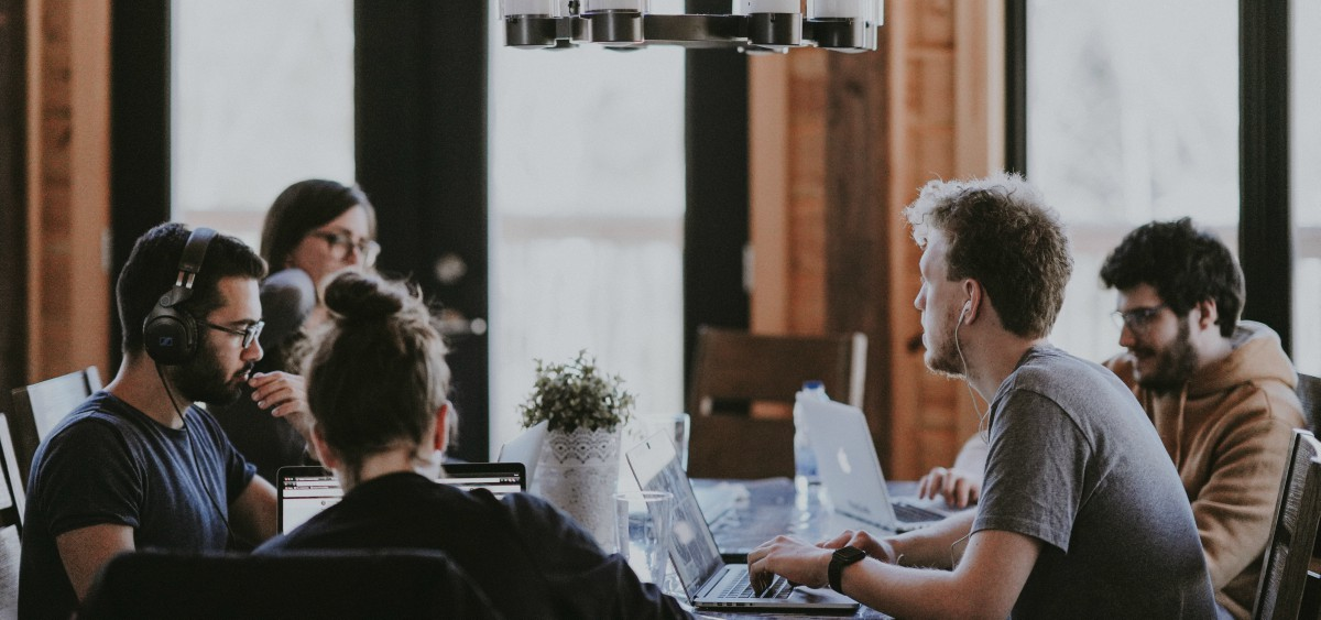 team members working together in coworking space